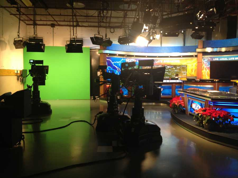Viewing the studio from the breaking news set