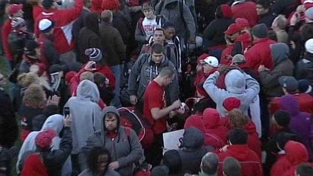 Some members of the University of Louisville football team arrive back in Louisville after winning the Sugar Bowl on Wednesday night.