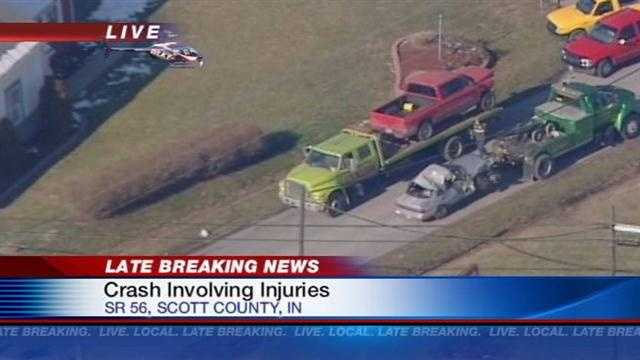 A medical helicopter responded to the scene of a crash in Scott County, Ind.