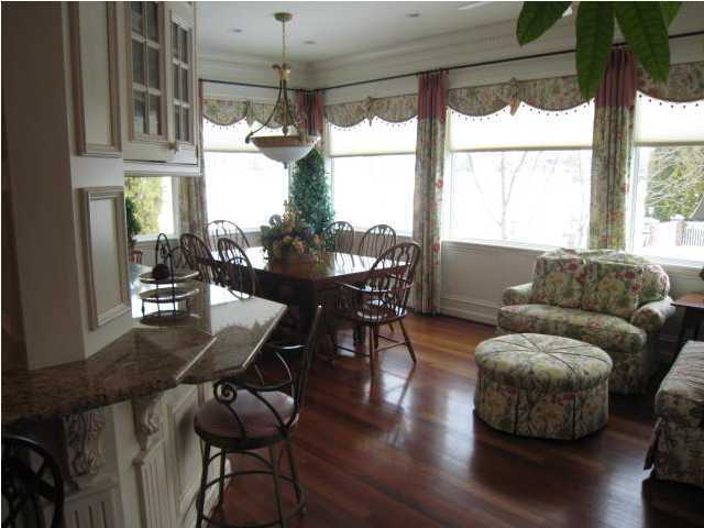 This casual dining nook sits to the left of the kitchen as well.