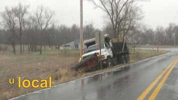 Salt truck in a ditch in Glendale, Ky.