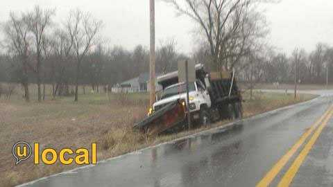 Salt truck in a ditch in Glendale, Ky.