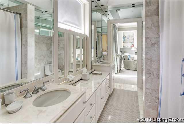 Master bathroom suite features exquisite marble detailing.