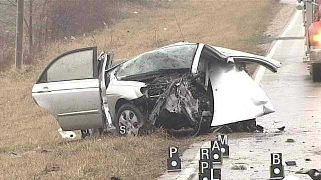 One person was killed and one person was injured when two vehicles collided in Palmyra, Ind.