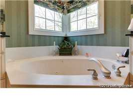 Close-up of jacuzzi tub.