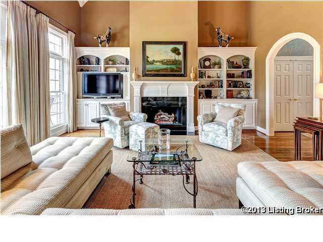 Steps from the front door is this beautiful family room.