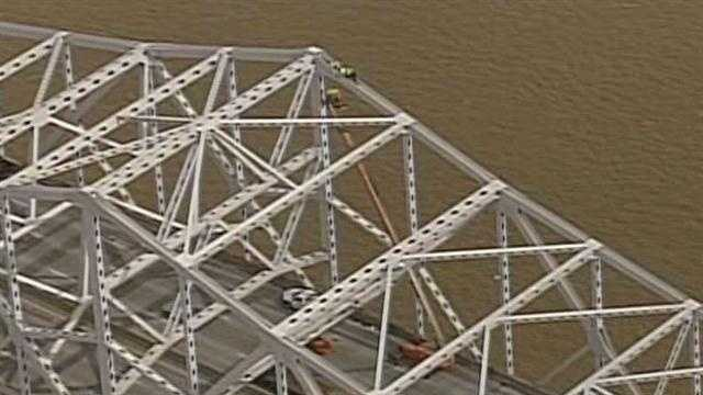 A possible crack in the steel of the Kennedy Bridge took crews high above Interstate 65 on Wednesday to take a closer look.