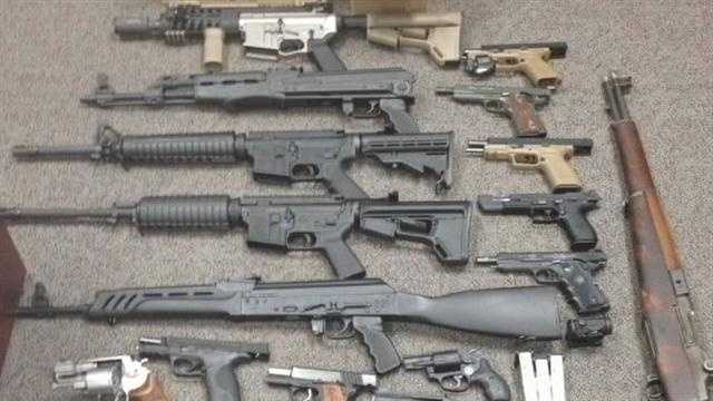 Nearly two dozen handguns and high-powered rifles were stolen from five gun shops across Louisville and Jeffersonville, Indiana.
