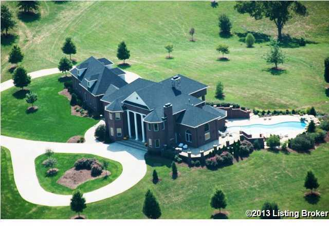 This aerial view shows the home, it's expansive driveway, and the pool.