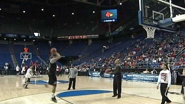 The Louisville Cardinals practice on the home court of archrival Kentucky ahead of their NCAA Second-Round game in at Rupp Arena