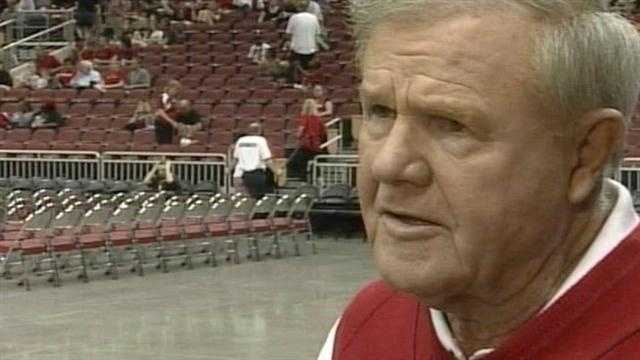 Former Louisville head basketball coach Denny Crum talks about the importance of celebrating the achievements of the UofL men's and women's basketball teams.