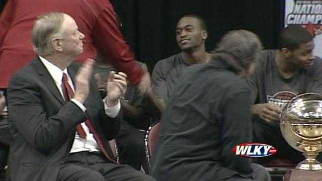 Injured Cardinal Kevin Ware addresses fans and his teammates at the Louisville basketball celebration.