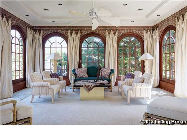 Bricked sun room is one-of-a-kind.