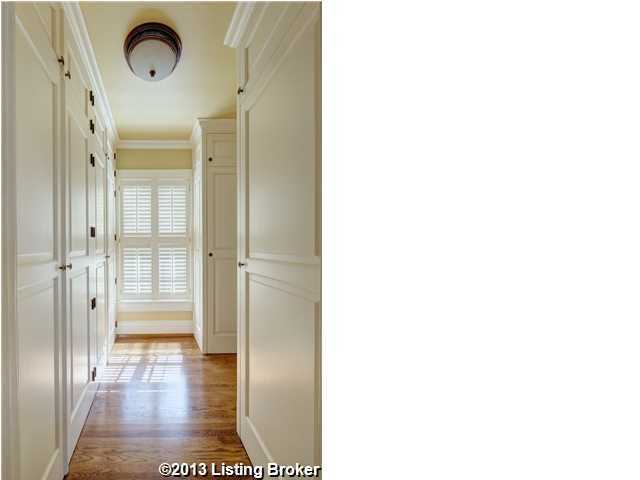 Second floor is lined with closet space.