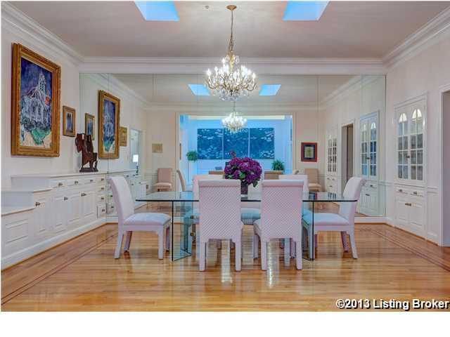 Formal dining room features.