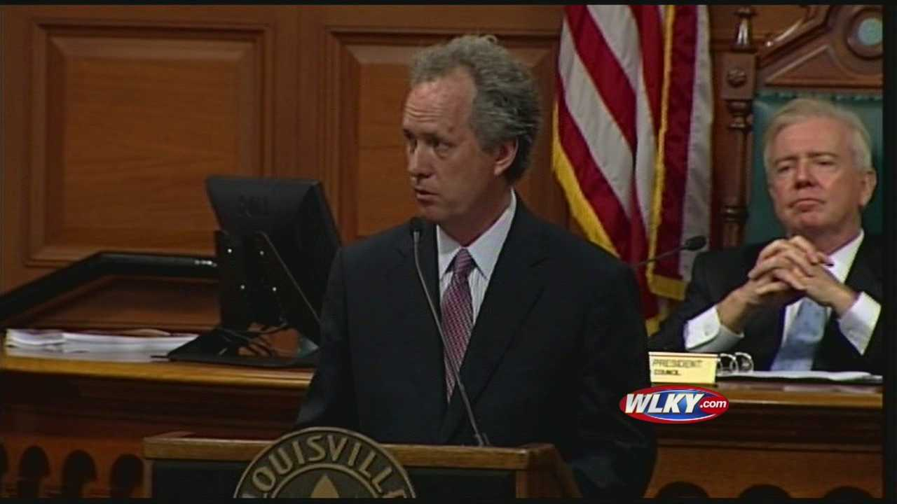 Louisville Mayor Greg Fischer unveiled his proposed budget Monday afternoon, and said, with an improving economy, things are looking up.