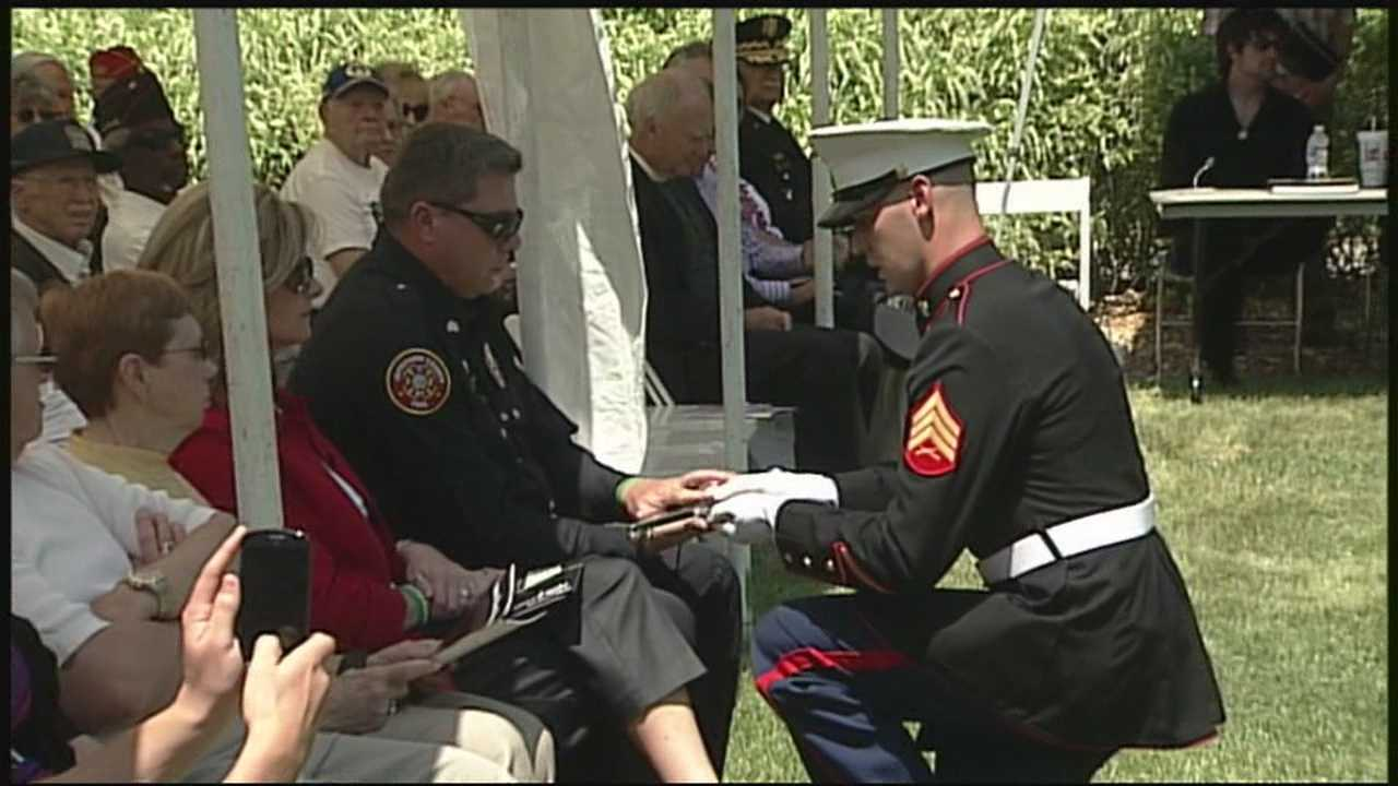 A Louisville Marine who died in 2008 has his name enshrined at the Patriot's Peace Memorial.