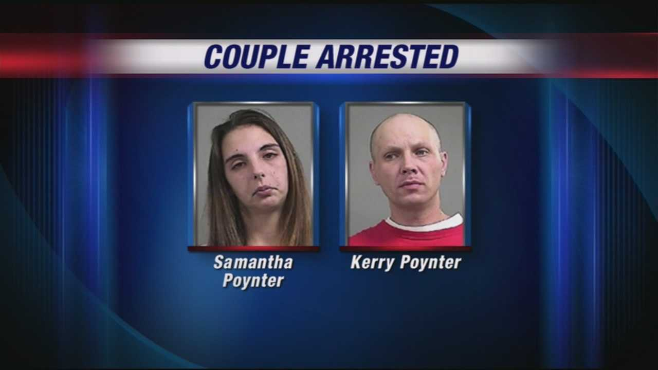 A husband and wife team are accused in a burglary spree involving nearly $7,000 after surveillance video caught them in the act.