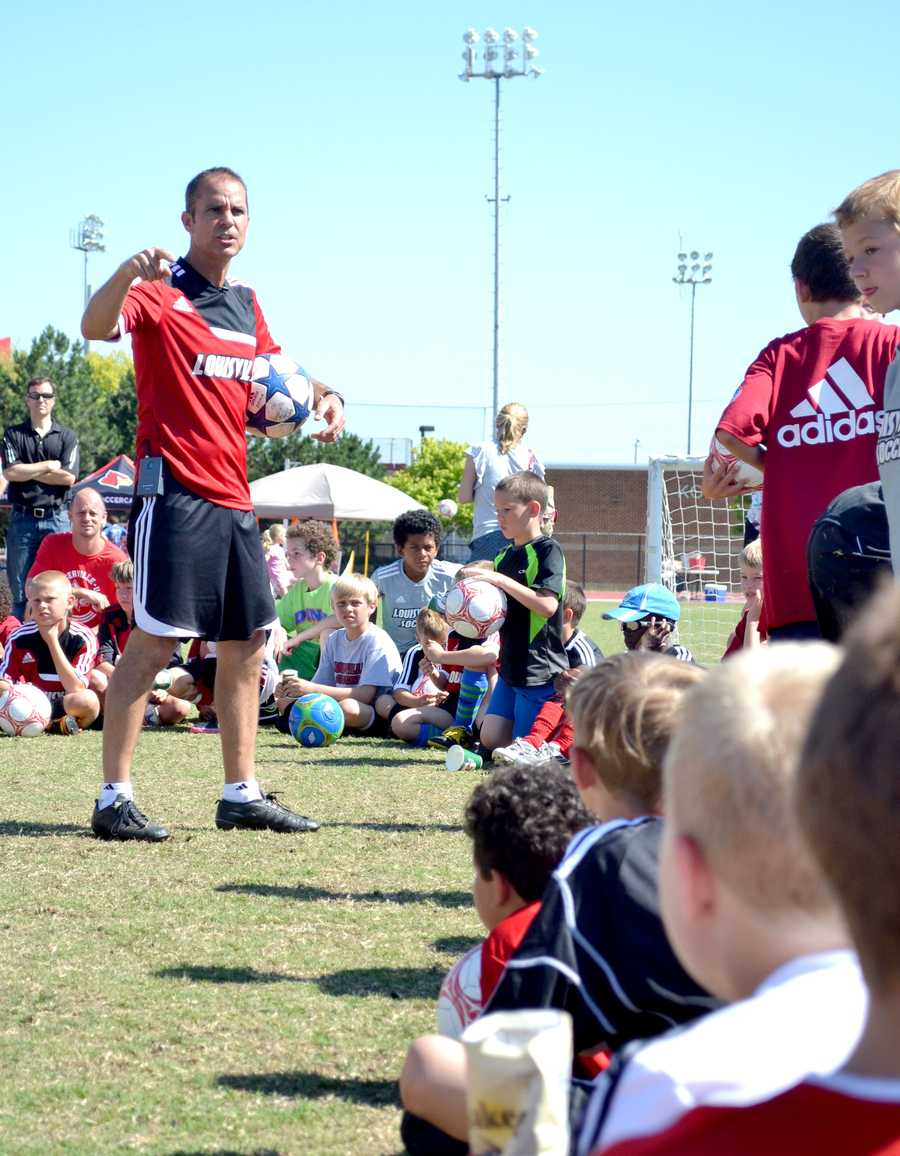 Ken Lolla: starting the day off with motivational words. Thanks to the help of local coaches, UofL's youth Soccer Camp has been a tremendous success!To find out more about UofL soccer Click Here