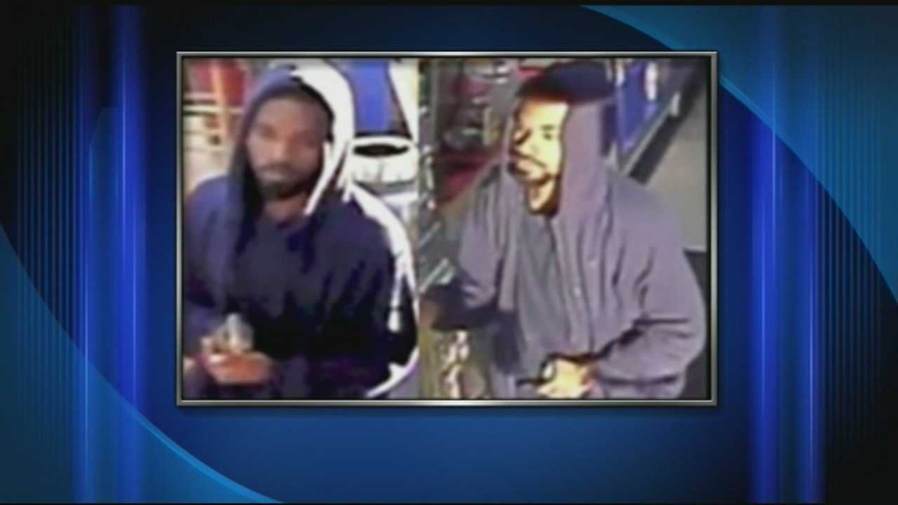 Two business robberies have been caught on camera, and police said the man was armed with a gun both times.