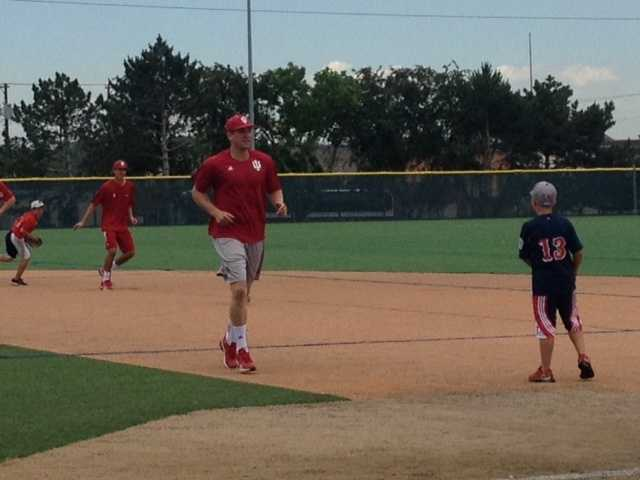 The Indiana University baseball team practiced Tuesday ahead of their elimination game in the College World Series.