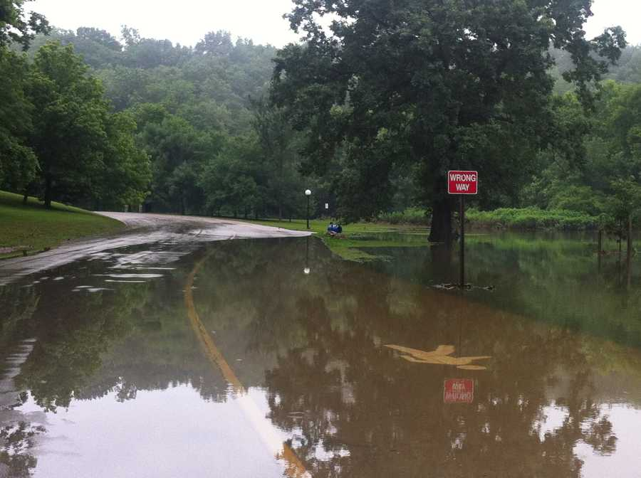 Portions of Cherokee Park flooded after the storms.