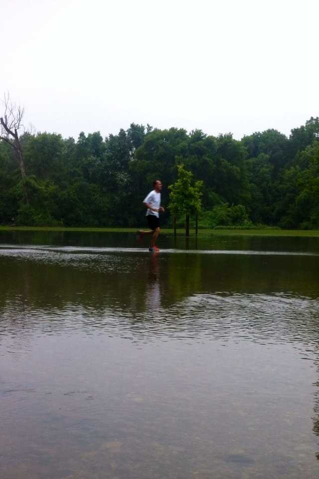 The flooding didn't stop one runner from getting his morning workout.
