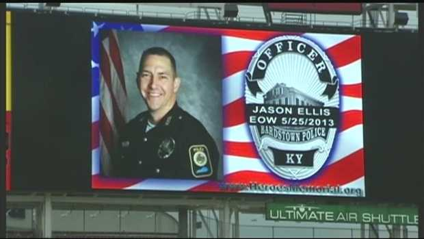 June 18, 2013:Officer Jason Ellis' family was on hand at Great American Ball Park Tuesday night as part of Police Officer Appreciation Day.