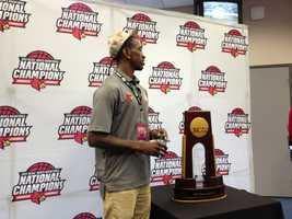 Russ Smith with National Champions trophy
