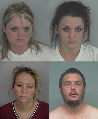 Four people were arrested after police discovered a meth lab at a New Albany home.