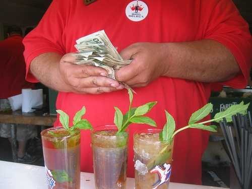100,000 mint juleps are poured during the Kentucky Derby and Kentucky Oaks.