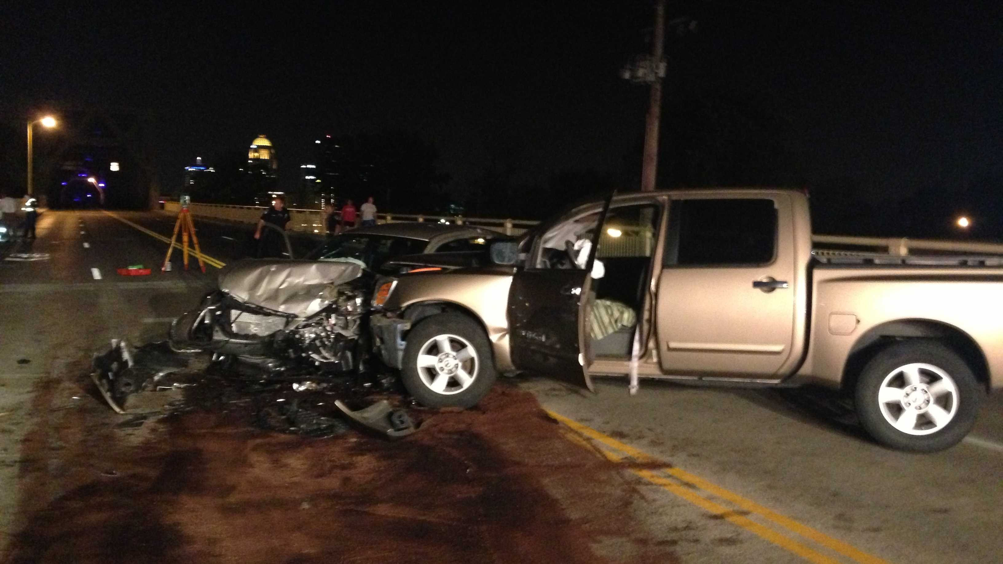 The Second Street Bridge is closed after a crash on the Indiana side.
