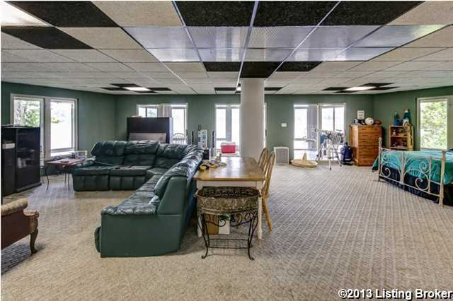 Spacious basement fits a large sectional sofa comfortably.