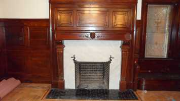 Entry fireplace after