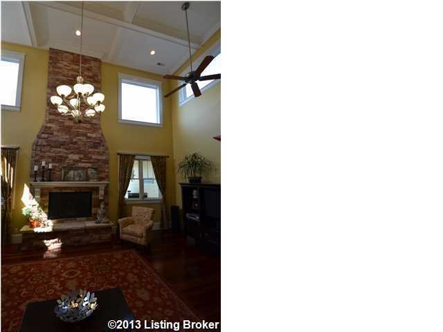 Soaring brick fireplace in the family room.