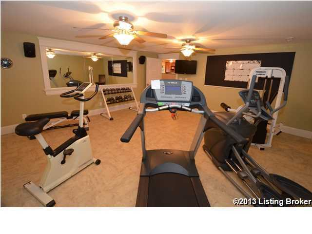 Home gym, in the basement, so you won't have to leave to get a good workout.