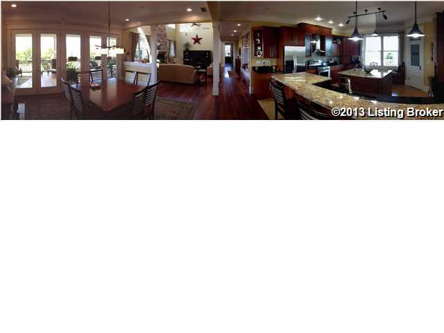 Panoramic view of the kitchen and dining room on the ground floor.