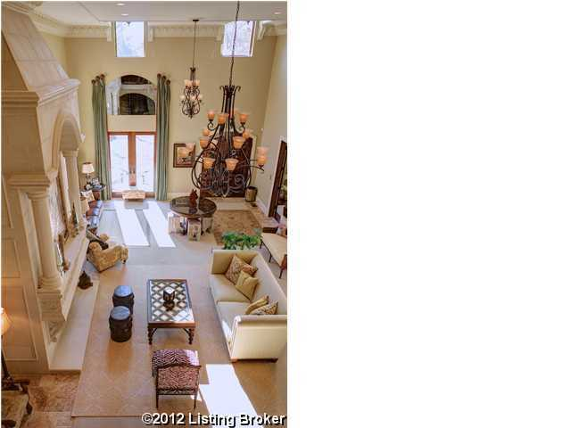 Overhead view from the top of the staircase, shows an intense look the designer's attention to detail.
