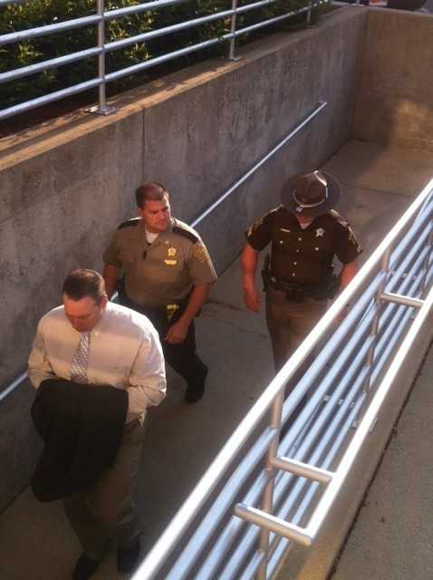 David Camm enters the courthouse on Aug. 19, 2013.