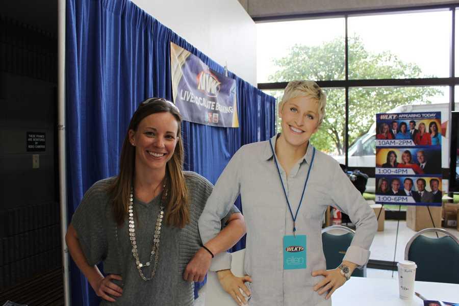 Assistant news director Jen Osburne and Ellen smile for the camera.