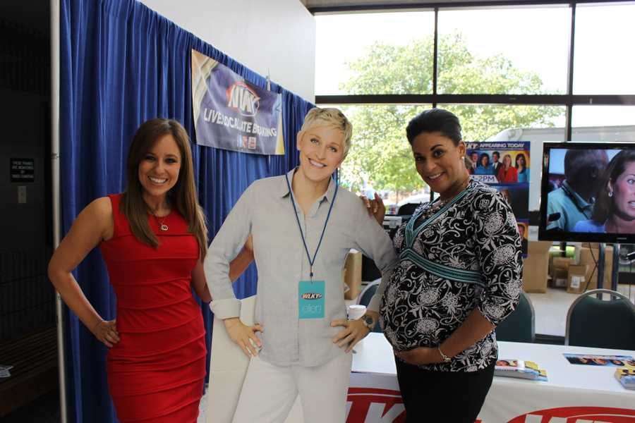 Traffic and sports reporter Natalie Grise and Monica Hardin with Ellen.