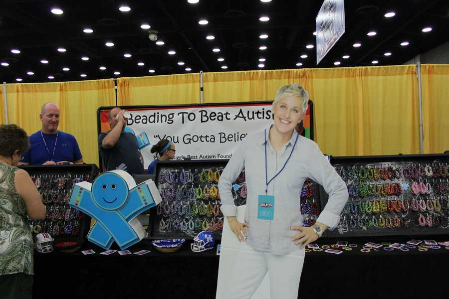 """Michala Riggle wasn't around, but Ellen stopped by the Beading to Beat Autism booth to say, """"Hello,"""" to her old friend. Michala was on the Ellen Show a few years ago."""