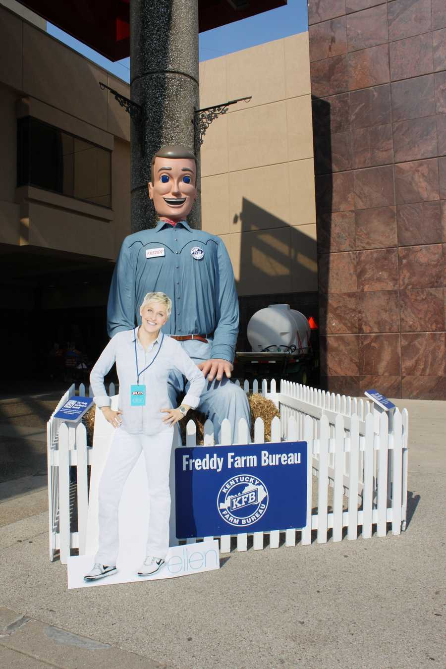 Freddy Farm Bureau either couldn't -- or wouldn't -- dance with Ellen. We're counting on you to bring your dancing shoes next year, Freddy!