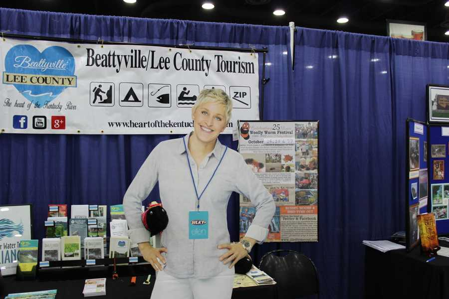 During a tour of the Kentucky county booths, Ellen found the Lee County booth and its Woolly Worm Festival particularly interesting. Yes, that's a giant woolly worm posing with Ellen.