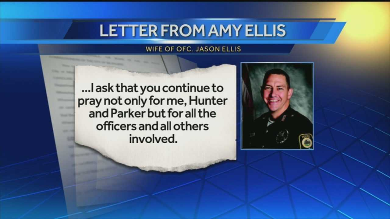 Amy Ellis, wife of Jason Ellis, wrote a letter thanking the community.