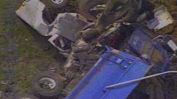 One person was killed and one person was injured in an accident near Peytona involving a dump truck and a pickup truck.
