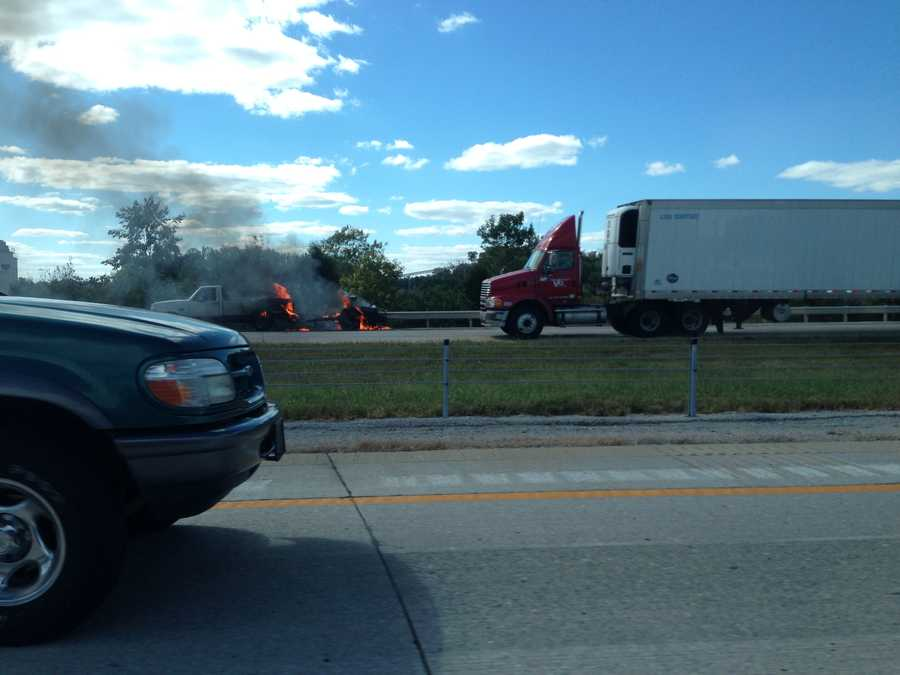 Part of a truck caught fire Friday afternoon on the Gene Snyder Freeway near Old Henry Road.
