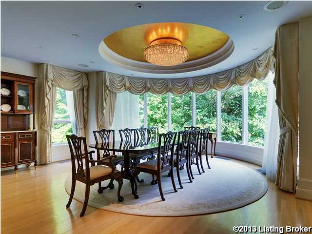 The formal dining quarters feature sweeping panoramic views.