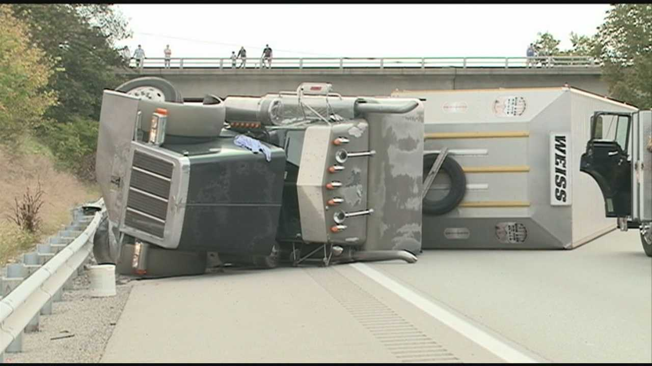 Cattle truck crashes on I-64, spilling 88 cows