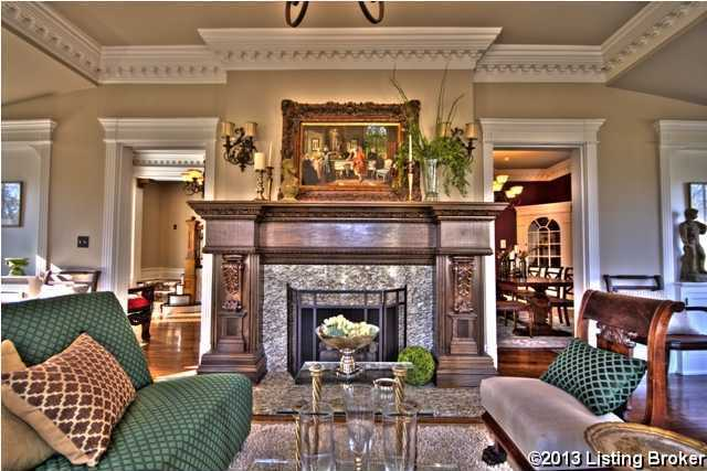 Statement pieces in each room, such as this magnifent fireplace will blow your guests away. The owner painstakingly had all woodwork done on site, custom designed built-ins, fireplaces and cabinetry.